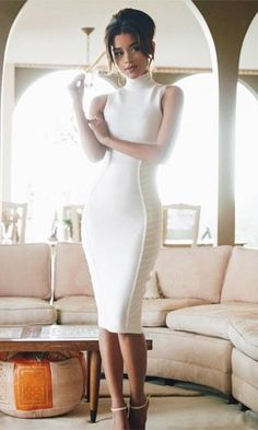 Devil May Care White Sleeveless Mock Neck Curved Seam Bodycon Bandage Midi Dress - Sold Out - Bodycon Dresses Elegant Dresses, Sexy Dresses, Cute Dresses, Beautiful Dresses, Fashion Dresses, Midi Dresses, Beautiful Women, Formal Dresses, White Outfits