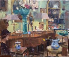 Plein Air Richmond June 2014 West End Antiques Mall booth by artist Larry Moore on facebook at https://www.facebook.com/LarryMooreStudios