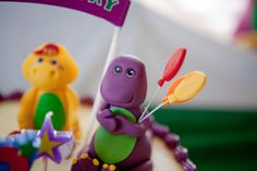 Barney fondant characters - cake Barney Party, Barney & Friends, Character Cakes, Personalized Favors, 2nd Birthday Parties, Dessert Table, Fondant, Invitations, Christmas Ornaments