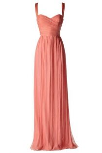 $159 Simple Coral Shoulder Straps Criss-cross Pleated Long Chiffon Bridesmaid Dress