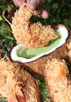Jumbo shrimp with a tempura and coconut batter, served with a creamy spinach dipping sauce. Our best seller. Creamy Spinach, Coconut Shrimp, Tempura, Food Ideas