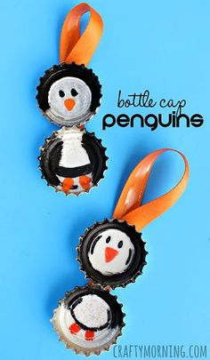Bottle Cap Penguin Craft for Kids (Christmas Ornament Idea) | CraftyMorning.com