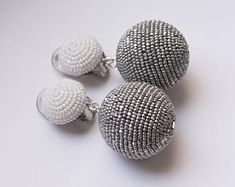 Items similar to Beads earrings. One ball earrings. on Etsy Beaded Rings, Beaded Jewelry, Handmade Jewelry, Unique Jewelry, Earrings Handmade, Long Tassel Earrings, Fashion Earrings, Women's Earrings, Fashion Eye Glasses