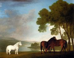 Two Bay Mares And a Grey Pony In a Landscape - Stubbs George