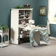 Space saving sewing hutch idea