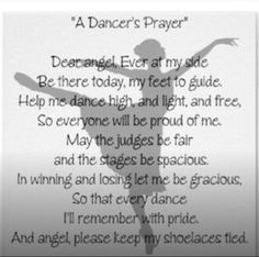A dancers prayer before performance