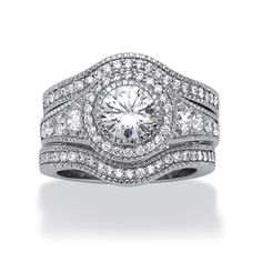 palmbeach platinum over silver 3 piece 273ct tgw cubic zirconia halo ring set glam - 3 Piece Wedding Rings