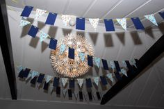 Nautical baby shower decorations banner pennant flags navy blue yellow