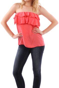 Coral Ruffle Tube Top Blouse, (http://www.thetexascowgirl.com/coral-ruffle-tube-top-blouse/)