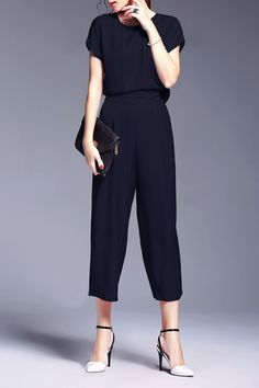 Purplish Blue Waisted Corset Solid Color Blouse And High Waist Wide Leg Pants