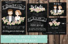 Custom Illustrated Wedding Invitation by SaveTheForest on Etsy