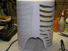 Here's one way to make a relatively cheap skeletal rib cage for some prop you may be building. It's made from a Walmart plastic, oval tras