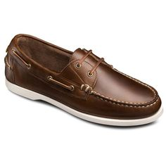 Allen Edmonds Maritime in Brown Horween Chromexcel Pull-Up Leather: Handsewn 2 Eye Lace-up, Slip-on Loafer Men's Casual Boat Shoe 9D