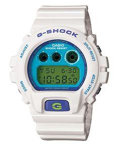 G-Shock Watch, Men's White Resin Strap DW6900CS-7 - Men's Watches - Jewelry & Watches - Macy's