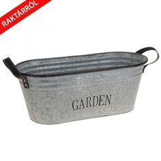Heavy A kerti fém vödör galvanizált acélból ezüst színben Shabby Chic Garden, Bucket, Bags, Accessories, Tub, Script Logo, Metal, Plants, Handbags