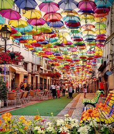 Águeda Portugal, Europe destinations, places to go in Portugal, places to go in Europe, trips for co Europe Destinations, Places To Travel, Places To See, Places Around The World, Around The Worlds, Best Places In Portugal, Umbrella Street, Voyage Europe, Portugal Travel