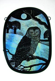 Barn Owl – x Stained Glass Portfolio - Tamsin Abbott Stained Glass Paint, Stained Glass Panels, Stained Glass Projects, Stained Glass Patterns, Mosaic Glass, Fused Glass, Glass Art, Antique Art, Glass Jewelry