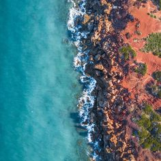 Taken at Gantheaume Point just outside Broome in Western Australia.  . I love the stunning contrast between the red dirt and blue ocean in this part of the world. . This shot was taken as part of our epic 5-month camping trip around Australia.  Read more about the trip and checkout this print and others on our website aboveunder.com . #welltravelled #beautifuldestinations #thekimberleyaustralia #mytinyatlas #earthmissions #skypixel #seeaustralia #fromwhereidrone #passportexpress . @australia