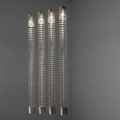 Angelo Mangiarotti; Chrome-Plated Steel 'Spirali' Ceiling Lights for Candle, 1974.