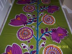 "Marimekko Fabric - KISSANMINTTU - Green/Purple/Orange/Blue - 36"" x 58"" - 1 yard #Marimekko"