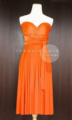 Short Straight Hem Orange Bridesmaid Convertible Dress Infinity Dress Multiway Dress Wrap Dress Wedding Dress