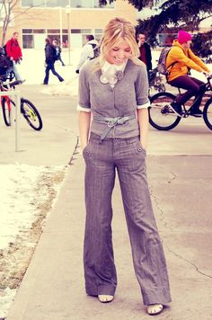 Wide-leg pants offset with fitted cardigan and skinny belt