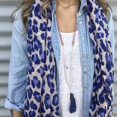 Pink Deer Style Gallery - Navy Leopard scarf with Sodalite, Rose Quartz and Rhodochrosite Necklace with Leather Tassel.