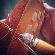 3-layered sole is made completely by hand of 3mm thick recycled leather, cork and rubber. It is hand-stitched with beige colour waxed thread and also glued with strong glue.