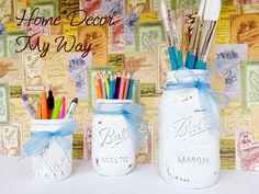 3 Piece White Mason Jar Set/Painted Mason by HomeDecorMyWay