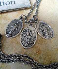 A Prayer for Protection 3 Holy Medal Necklace, Archangel Michael, Miraculous Medal, St. Christopher on Etsy, $18.00