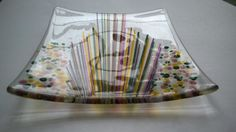 Fused Glass Plate Decorated with Stringers and by LailiBugStudio