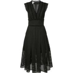 Oscar de la Renta pleat trim flared dress (298.820 RUB) ❤ liked on Polyvore featuring dresses, oscar de la renta, black, flare dress, pleated dress, flared dresses and flared hem dress