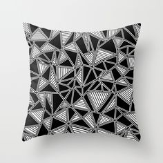 Abstract Outline Lines Black Throw Pillow #black #white #geo #geometric #modern #lines #triangle #abstract #abstraction