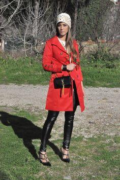 http://www.cosamimetto.net/2014/02/red-trench-coat-studs-michael-kors-beanie-ysl-bag-fendi-bangle.html The red Thrench Ysl bag Michael Kors beanie studs rockstud leather leggings