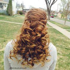Criss cross half updo with curls