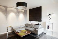Warsaw livingroom #interiordesign #concretewall #comfysofa #woodenfloor