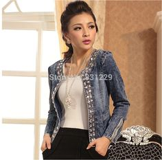 Womens Sparkling Jean Jacket with Crystal Accents, Plus sizes to 4X