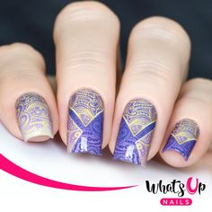 Top your nails with these water decals with a purple and gold design of paisleys.