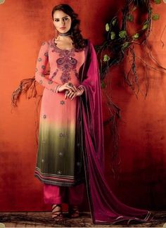 Appealing Pink And Green Faux Georgette Designer Pakistani  Suit http://www.angelnx.com/Salwar-Kameez/Pakistani-Suits