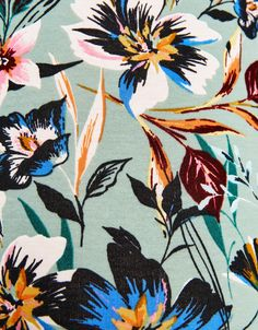Bodysuit with neckline detail - New - Bershka United Kingdom motif pattern flowers fleurs