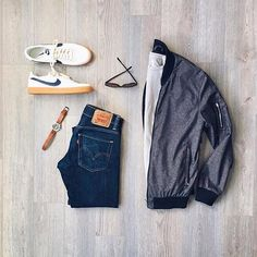 #gqstyle @mitchyasui #gq  #mensstyle #BomberJacket : #frankandoak #mensfashion #MensTee: @jcrew #welldressedmen #Denim: #levis #Sunglasses: #warbyparker #Shoes: #nike x #jcrew #mensblog #MensWatch: #timex x #redwingheritage @mallenpics
