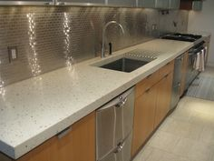 """Custom """"Mother of Pearl"""" Concrete Countertop w/ Cast-in Drainboard by Concreteworks East"""