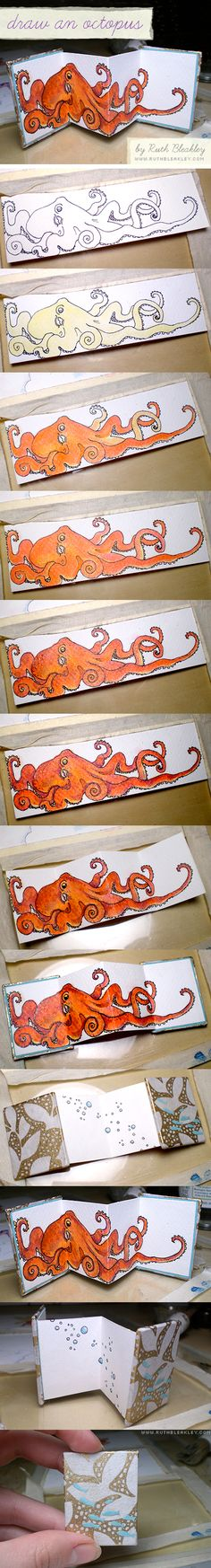Octopus Drawing DIY and Mini Accordion Book Tutorial by @RuthBleakley