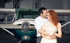 Airplane in Hanger Engagement Session | Plant City Vintage Airport Engagement Shoot