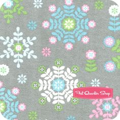 Winter Warmth Flannel Charcoal Flower Snowflakes Yardage