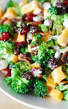Broccoli Salad with Bacon, Raisins, and Cheddar Cheese