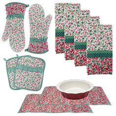 New Colorful Sugar Skulls Pot Holder /& Kitchen Towel Pocket Oven Mitt Gift Set