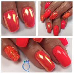 Ideas for red chrome nails designs coffin Pink Chrome Nails, Sky Blue Nails, Green Nails, White Nails, Pink Nails, Red Summer Nails, Fall Nails, Gel French, French Nails