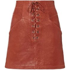 A.L.C. Women's Leather Lace-Up Mini Skirt ($595) ❤ liked on Polyvore featuring skirts, mini skirts, red skirt, leather mini skirt, red leather skirt, red leather mini skirt and genuine leather skirt