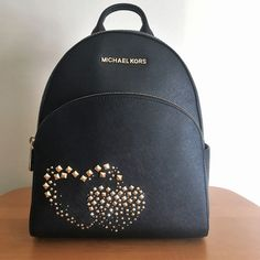 f1992b75ff1f MICHAEL KORS Abbey Medium Backpack Black Leather Gold Studded Double Hearts  NWT  MichaelKors  BackpackStyle